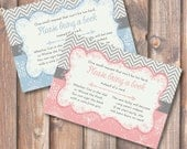 Chevron Snowflake Pink or Blue Printable Stock the Library Enclosures Bring a Book Cards - INSTANT DOWNLOAD