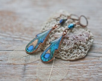 Dangle Earrings - Peacock feather