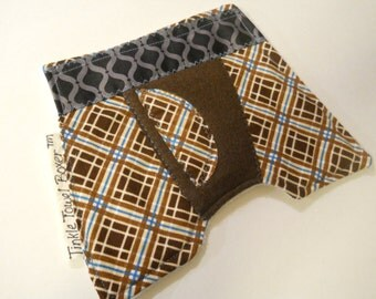 "Tinkle Towel Boxer / Diaper Change Accessory /  Boy Baby Shower Gift / diaper bag changing pee pad / ""Grandpas Brown n Blue Plaid"""