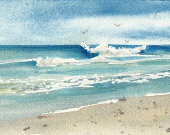 Moonlight Beach Watercolor Print, Seascape, San Diego, Encinitas, Southern California, Waves, Shore, Clouds, Blue