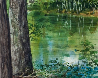 Saco River, Watercolor Original Painting, Maine, Reflections, Trees, Green, Woods
