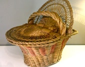 Vintage Antique Sewing Basket Hinged Wicked Wood Sale