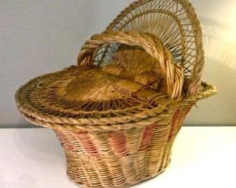 Sale!  Vintage Antique Sewing Basket Hinged Wicked Wood Sale