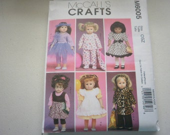 Pattern Doll Outfits 18 inch Dolls 6 Outfits McCalls 6005