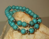 Stretch Bracelets with Silvertone Crosses and Magnesite Turquoise Beads