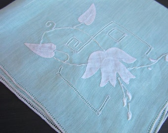 Vintage Hanky, Handkerchief, Mint Green Colored Fine Cotton, Embroidered, Applique, Cut Work, Square