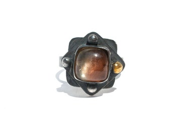 Oregon Sunstone Ring in Oxidized Sterling Silver- Size 8- Bohemian Gemstone Ring
