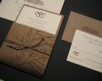 SoHo Collection Invitation Suite - Pocket-style Rustic, Elegant 'Entwined Hearts'