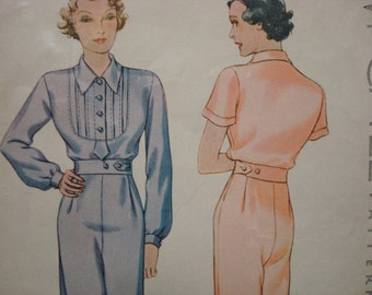 1930s Ladies' Pajamas Side Button Palazzo Pants Hollywood Glamour Bib Yoke Uncut FF McCall 8095 © 1935 Bust 32 Womens Vintage Sewing Pattern