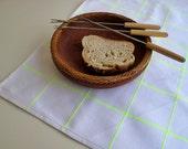White Striped cotton kitchen hand towel,Pink striped cotton dish cloth,Farmhouse kitchen decor