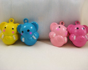 Elephant Collection - 4 Pieces - 1 Pink, 1 Dark Pink,1 Blue, 1 Yellow Jungle Elephant Animal Jingle Bell Charm