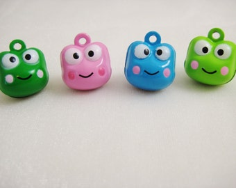 Frog Collection - 4 Pieces - 1 Pink, 1 Dark Green, 1 Blue, 1 Light Green Froggy Animal Jingle Bell Charm