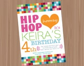 Printable or Emailable Girls Hip Hop Dance Birthday Party Invitation and Thank You Note