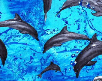 Cotton Fabric, 1/2 Yard, Gray Dolphins, Leaping Ocean Fish, Marine Blue, Quilt, Quilting, Pillow, Christmas Gift, Crafts, More Available