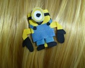New - Despicable Me Minion Inspired Ribbon Sculpture Hair Clip ...Hair Accessory ...Hairbow