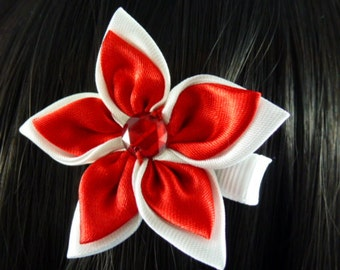 SALE - Elegant Red and White 2 tone Satin Flower Clip....1.49 - HM81