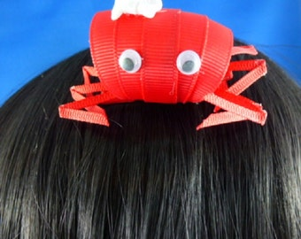 SALE - NEW - Sally the Red Crab Hairbow...3D Ribbon scupture,Hair bow,Hair Accessory,Hair Clip