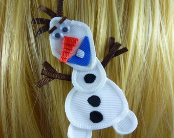 New - Frozen's Olaf Disney Princess Inspired Ribbon Sculpture Hair Clip ...Hair Accessory ...Hairbow