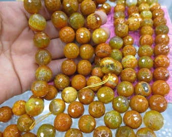 2 str -Gold Yellow Fire Agate 14mm Round beads faceted- 28pcs/strand