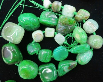 Green Agate nugget beads 15x20-8x12mm- 22pcs/strand
