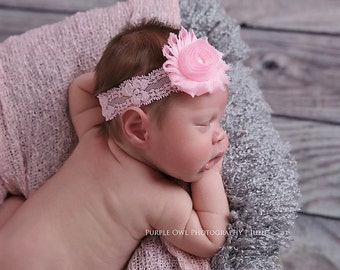 Light pink headband, newborn headband, infant headband, pink baby headband, pink shabby flower headband, vintage headband, baby hairband