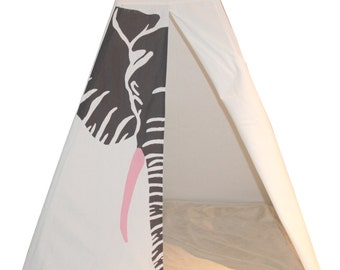 Elephant Hides Teepee in grey and pink