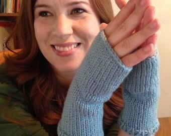 Knit Fingerless Gloves, Blue