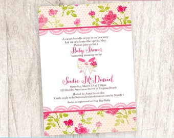 Rose Baby Shower Invitation, Bow Baby Girl Shower Invite, Pink Rose - DiY Printable, Print Service Available    Rosy Bow So Shabby Sweet