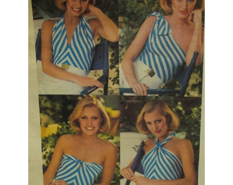 "Convertible Halter Top Pattern, Four Styles, Stretch, Vintage 1970s, Butterick No. 5371 Size Small (8-10) Bust 33.5"" 85cm"
