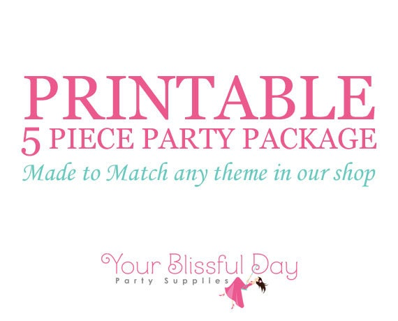MADE to MATCH PRINTABLE 5 Piece Party Package (Any theme in our shop)