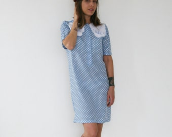 Clearance sale/ Light Blue with white polka dots dress/ Scallop collar dress/ Shift dress