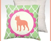 "Dog Silhouette Pillow Cover - PICK YOUR BREED - Orange Pink Green Decor - 18"" x 18"" and 20"" x 20"""