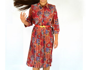 Shirt Dress, Red Dress, Floral Print, Vintage 1980s Size Medium