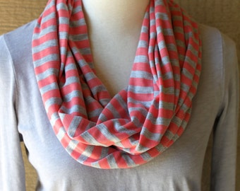 Coral and Grey Striped Infinity Scarf - Jersey Cotton Circle Scarf - Cowl - Light Fall or Spring Loop Scarf - Cute Trendy Circle Scarf