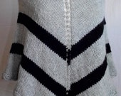 Hand Knit Poncho Gray & Black, Wool, Capelet. Stripes, Retro, Funky and Fun! ~Made to Order~