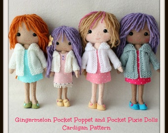 Instant Download PDF Cardigan Pattern for Gingermelon Pocket Poppet and Pocket Pixie Dolls