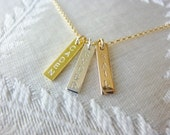 Personalized Bar Necklace-Small Bar Necklace-Small Name Necklace-Small Initial Necklace-Rose Gold Bar Necklace-Nameplate Necklace-Momentusny