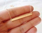 Rose Gold Name Plate Necklace-Initial Bar Necklace-Name Bar Necklace-Rose Gold Engraved Necklace-Rose Gold Bar Necklacee-Momentusny