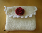 Felted Makeup Pouch in White and Red