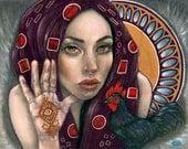 Voodoo Priestess rooster henna pagan 8x10 fine art print