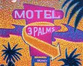 Wall Art - Original Art- Hand Painted - Rest Here Florida Motel 12 x 12 Acrylic Art - Pointillism Painting Ed McCarthy - Free Shipping