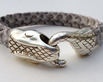 Genuine Python Leather bracelet with snake head clasp