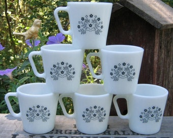 6 Pyrex Coffee Mugs in Summer Impressions - Blueberry Flowers - Oak Hill Vintage