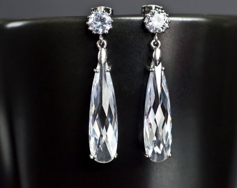 Bridal Earrings, Long Cubic Zirconia Teardrop Earrings , Wedding Jewelry Clear Crystal, Bridesmaids Earrings