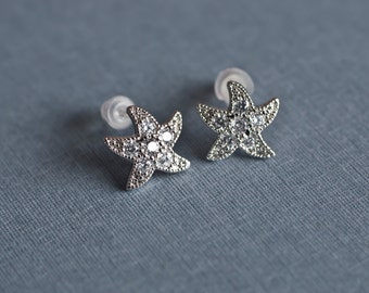 Starfish Earrings, Star Fish Rhodium Plated Cubic Zirconia Pave Setting Earrings, Bridal Bridesmaids Earrings, Wedding Destination Earrings