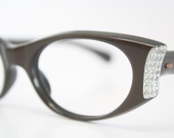 Brown Rhinestone cat eye eyeglasses  vintage cat eye glasses frames Cateye frames