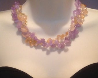 Stylish chunky necklace, lavender ametrine, yellow citrine, double strand, handmade, cheap gift idea, natural gemstone, multi strand, beaded