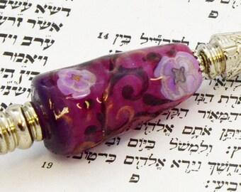 Violet blossom- Torah Pointer YAD With Handmade Glass Bead - A Perfect Bar/Bat Mitzvah Gift