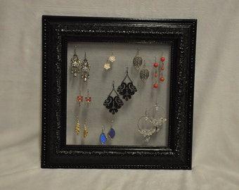 Ornate Glossy Black Vintage Picture Frame Earring Holder Jewelry Organizer Upcycled Green