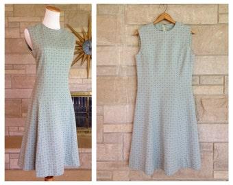 1960s Mint Green Dress * Geometric Print * Princess Seam Dress * Womens Size Large